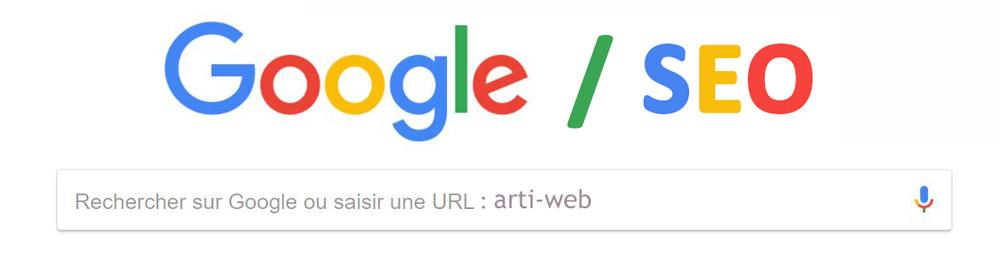 Image de la barre de recherche google dans le navigateur Chrome