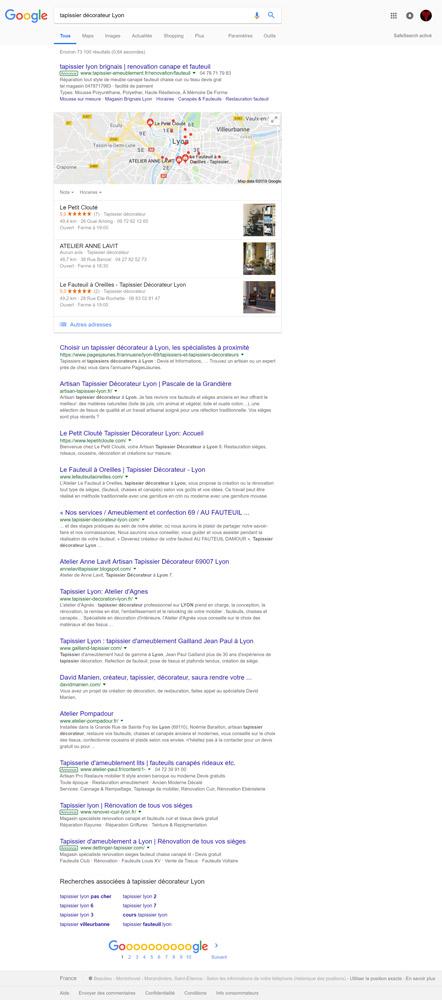 SEO, résultat d'une recherche sur le moteur de recherche Google