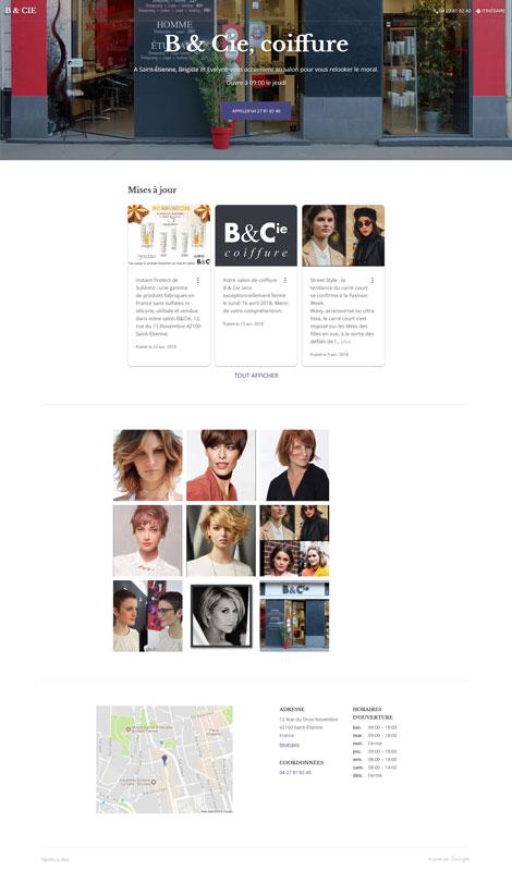Site web gratuit One Page B& Cie avec Google