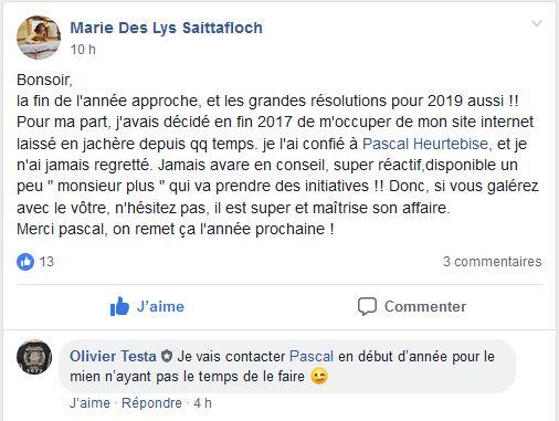 Témoignage de satisfaction client Facebook